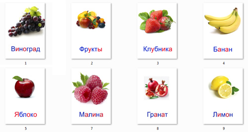 Ягоды и фрукты на картинках для детей