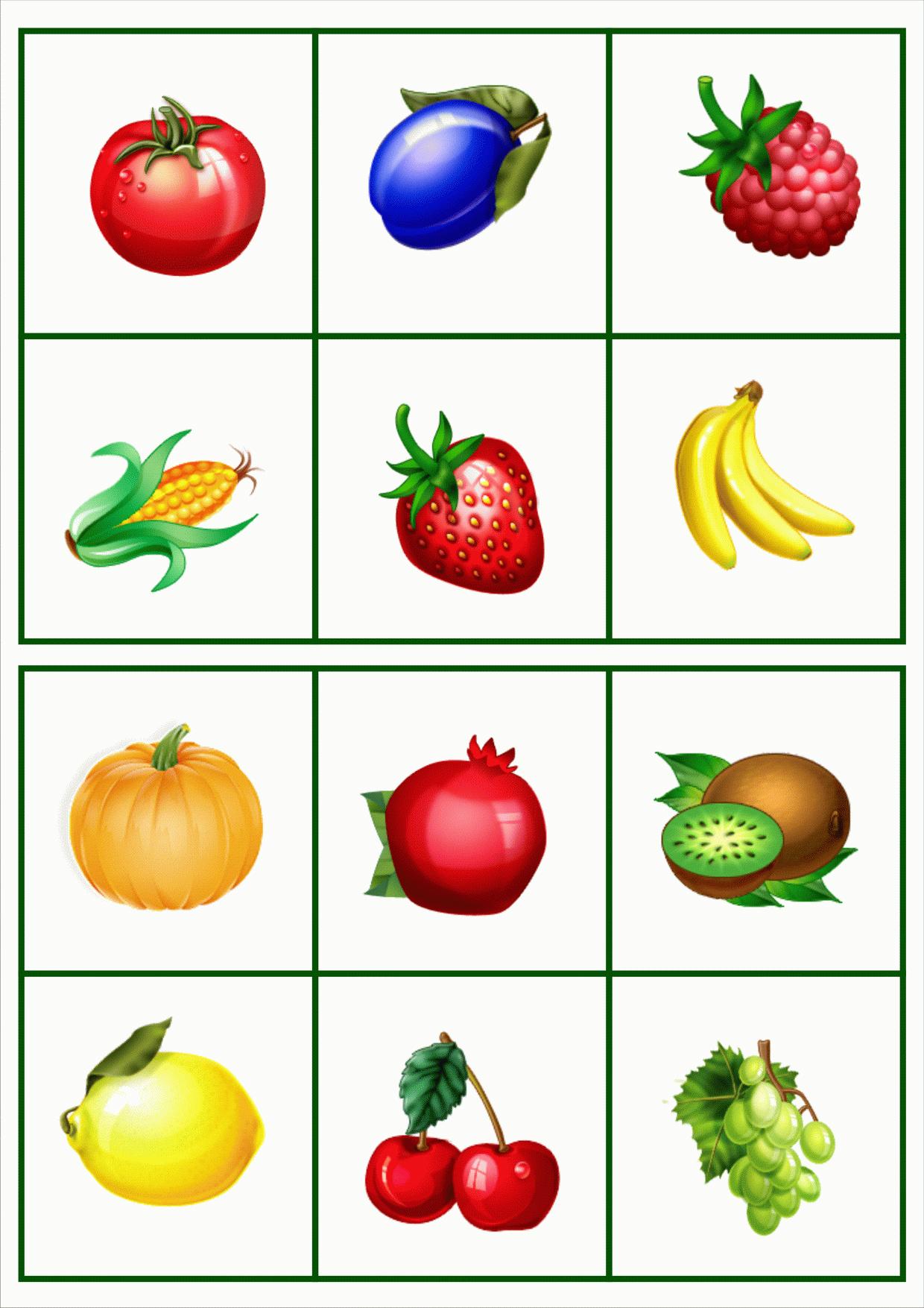 Овощи и фрукты на картинках для детей